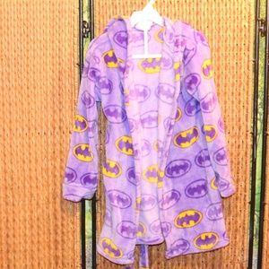 Girls Size 5 Bat Girl Robe With Hood EUC